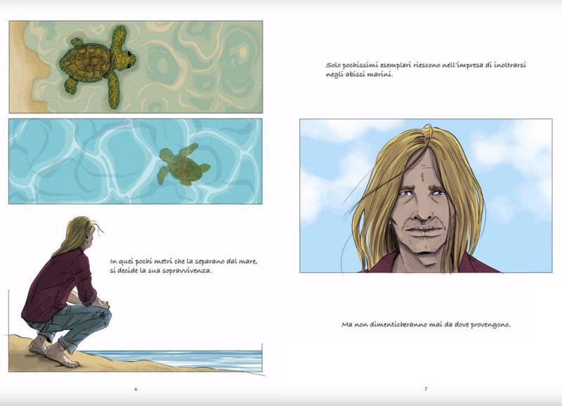 La memoria delle tartarughe marine tavole graphic novel