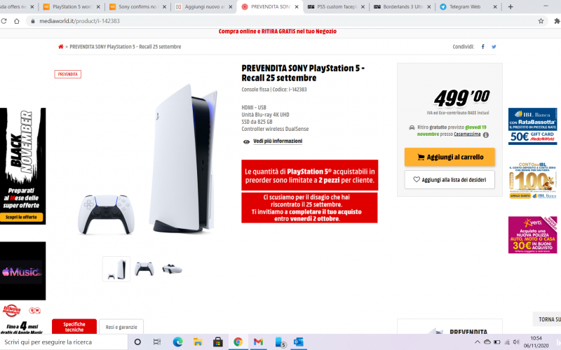 Playstation 5: In Italia di nuovo disponibile al Pre-Order